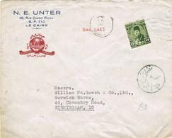 31520. Carta SEA MAIL, Maritima CAIRO (Egypt) 1946. Censor. HOLOPHANE Ilumination - Ägypten