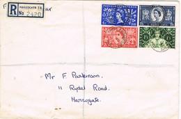 31521. Carta Certificada PANNAL Ash HARROGATE (Yorkshire) 1953. Registered - 1952-.... (Elizabeth II)