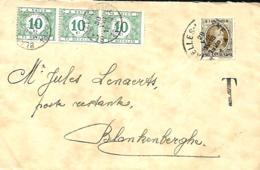 Belgique. TP 255   L.   Bruxelles 1 > Blankenberge  Poste Restante  TX 33 (x 3)  Dentelure Décalée  1928 - 1922-1927 Houyoux