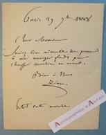 Félix ZIEM 1888 - Peintre école Barbizon Né à BEAUNE Côte D'Or- Billet Lettre Autographe - Orientalisme Impressionnisme - Autographes