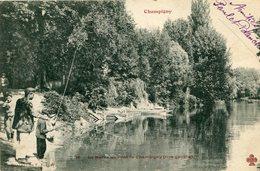 La Marne Au Pont De CHAMPIGNY SUR MARNE Famille à La Pêche - Champigny Sur Marne