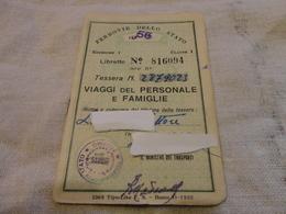 TESSERA FERROVIE DELLO STATO BIGLIETTO CHILOMETRICO-1956 - Abbonamenti
