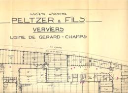 VERVIERS - 2 Plans De L'usine De Gérard-Champs à VERVIERS De La SA PELTZER & Fils En 1964 - Format A2 (jm) - Architecture