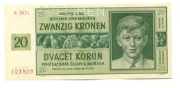 Čechya Morava, Dvacet Korun, 20 Korun, Zwanzig Kronen, PROTEKTORAT, 1944, SPECIMEN, S. 34G, Bohemia Moravia - Cecoslovacchia
