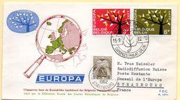 Europa 1962, FdC. Belgique. Oblitération 15/09/1962 + Cachet à Date Conseil De L'Europe 25/09/62 - 1962