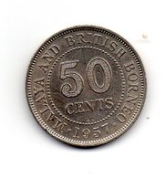 MALAYSIE - Pièce 50 Cents 1957- Malaya And British Borneo - Queen Elisabeth II - Malaysie