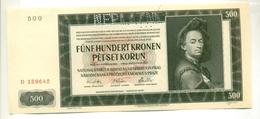 Čechya Morava, Petset Korun, 500 Korun, Funf Hundret Kronen, NEPLATNE (rare!!!), 1942 , Serie D, Bohemia Moravia - Tchécoslovaquie