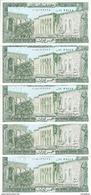 LIBAN  5 LIVRES 1986 UNC P 62 ( 5 Billets ) - Libano