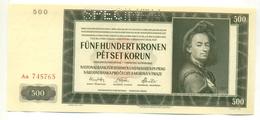 Čechya Morava, Petset Korun, 500 Korun, Funf Hundret Kronen, SPECIMEN, 1942 , Serie Aa, Bohemia Moravia - Tchécoslovaquie