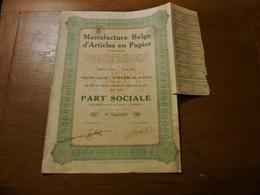 """Part Sociale """" Manufacture Belge D'articles En Papier """"Arlon 1929 (Belgian Paper Industry).N° 003707 - Industrie"""