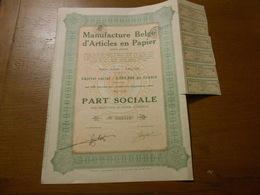 """Part Sociale """" Manufacture Belge D'articles En Papier """"Arlon 1929 (Belgian Paper Industry).N° 003713 - Industrie"""