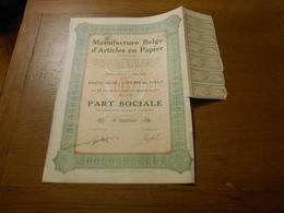 """Part Sociale """" Manufacture Belge D'articles En Papier """"Arlon 1929 (Belgian Paper Industry).N° 003709 - Industrie"""