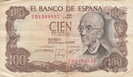 ESPAGNE - 100 Pesetas - 17/11/197O - El Banco De Espana - 100 Pesetas