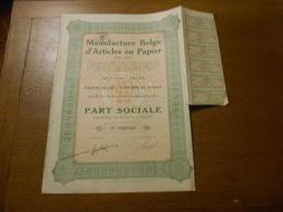 """Part Sociale """" Manufacture Belge D'articles En Papier """"Arlon 1929 (Belgian Paper Industry).N° 003710 - Industrie"""