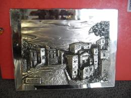 Tableau Gravure Sculpture Plaqué Argent ARG 925/1000 Encadré Miroir Italy Creazioni Artistiche Village De TOSCANE Italie - Sculptures