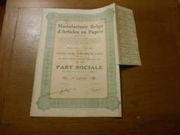 """Part Sociale """" Manufacture Belge D'articles En Papier """"Arlon 1929 (Belgian Paper Industry).N° 003712 - Industrie"""