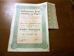 """Part Sociale """" Manufacture Belge D'articles En Papier """"Arlon 1929 (Belgian Paper Industry).N° 006659 - Industrie"""