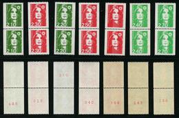 FRANCE - MARIANNE BICENTENAIRE ** - TIMBRES DE ROULETTE EN PAIRES AVEC NUMEROS ROUGES NEUFS ** - 1989-96 Marianne Du Bicentenaire