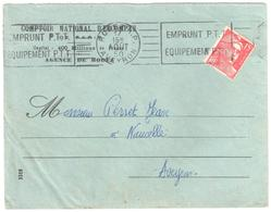 RODEZ Aveyron Lettre Comptoir Nationale Escompte 15F Gandon Yv 813 Perforé CN 286 Ob 1950 Meca RBV Emprunt PTT - France
