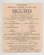 Sigurd  1910 Opéra Bourdon Dubois Lauger Charny Granal Dangès Gresse - Non Classificati