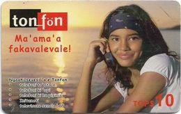 Tonga - TonFon - Ma' Ama' A Fakavalevale - Girl In Sunset - Remote 10$, Used - Tonga