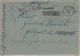 DR - Feldpostbrief Bochum - FpNr. 33760D 23.8.43 Zurück - Empfänger Vermisst - Briefe U. Dokumente