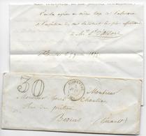 1855 - LETTRE De FLORENSAC (HERAULT) Avec TAXE TAMPON 30 => BEZIERS - Marcofilie (Brieven)