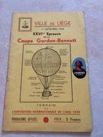 RARE Programme Officiel VILLE DE LIEGE 11 Septembre 1938 épreuve De La Coupe GORDON BENNETT Ballon Montgolfier - Programmes