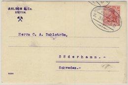 DR - Bahnpost Neubrandenburg - Stettin Zug 346 Karte N. SCHWEDEN Stettin 1912 - Deutschland