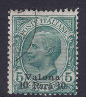 Italy Offices 1909 Valona Albania Sassone#1 Mi#23 Used - 11. Oficina De Extranjeros