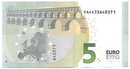 (Billets). 5 Euros 2013 Serie YA, Y005A1 Signature 3 Mario Draghi N° YA 4433640371 UNC - 5 Euro