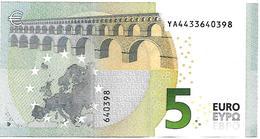 (Billets). 5 Euros 2013 Serie YA, Y005A1 Signature 3 Mario Draghi N° YA 4433640398 UNC - EURO