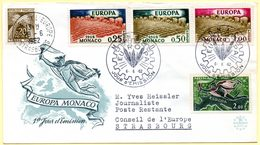 Europa 1962, FdC.Monaco. Oblitération 6/06/1962 + Cachet à Date Conseil De L'Europe Sur Timbre Taxe :29/06/1962. - 1962