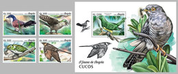 ANGOLA 2018 - Cuckoos, 4v + S/S. Official Issue - Coucous, Touracos