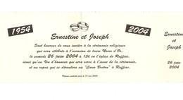 Carte D'invitation (2 Volets) Noces D'or En 2004 à RUFFIAC (56), Recto Photo Du Couple - Cartes