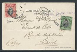 Peru Postwaardestuk Verstuurd Naar Gent - Pérou