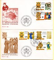 Europa 1980, 2 FDC. Poste Vaticane. Vatican. S. Benedetto Patrono D'Europa. C à Date Du 21/03/1980. - 1962