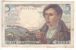(Billets). France. 5 Fr Berger 30.10.1947 - 1871-1952 Anciens Francs Circulés Au XXème