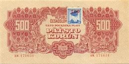 Czechoslovakia, 500 Korun, SPECIMEN, 1944, AM, + Stamp, Occupation, Ww2, Banknote, Czech, Slovakia, Bohemia, Moravia - Tchécoslovaquie