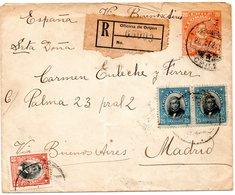 Env.Entier Postal Plus Divers Timbres Sur Recommandé De -Oficina De Orijen-1924 Pour Madrid - Chili