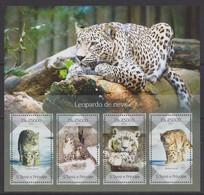 Sao Tome - 2014 Schneeleopard Snow Leopard - 2 Scans ** - Félins