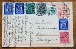 GERMANIA  INFLAZIONE  CARTOLINA POSTALE 40 + 35 CON 75+75+75+4+8+10 FROM ELBERFELD TO SIEGEN THE 12/2/23  RRR - Briefe U. Dokumente