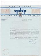 Lettre Commerciale 1946 Etablissements CYCLOP, 25 Rue D'Alsace Paris (10e). A Lucien Foucauld, Cognac - France