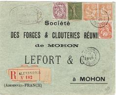 Enveloppe  Sociéte Des Forges &Clouteries Réunies De MOHON - Recommandée En Provenance D'Alexandrie Egypte - Postmark Collection (Covers)
