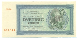 Czechoslovakia, 2000 Korun, SPECIMEN, 1945, 23 Jn, Occupation, Ww2, Banknote, Czech, Slovakia, Bohemia, Moravia - Tchécoslovaquie
