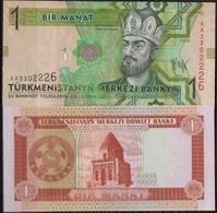 B 128 - TURKMENISTAN 2 Billets De 1 Manat  état Neuf 1er Choix - Turkménistan