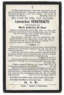 DP  Leonardus VERSTRAETE - De Smet - Rumbeke - Putte - Banneling Wereldoorlog 1 - Obituary Notices