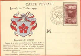 FRANCIA - France - 1944 - 2,40F Saint-Denis + Special Cancel Journée Du Timbre - Troyes - Carte Postale Renouard De Vill - Storia Postale