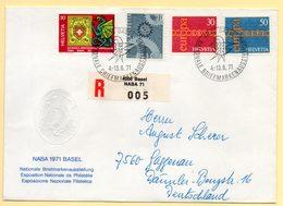 NABA 1971 Basel. Pli Recommandé. Exposition Nationale De Philatélie. C à Date Du 4 Au 13/06/1971 Sur Timbres Europa. - Switzerland