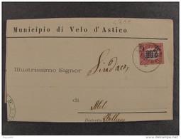 """4388 ITALIA Regno-1878- """"Ondine"""" C. 2 Su 2,00 ARSIERO>MEL (descrizione) - 1861-78 Vittorio Emanuele II"""